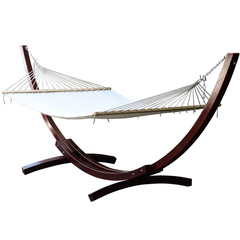 Outsunny Cypress Wooden Arc Double Wide Patio Hammock Swing & Stand by Hammocks