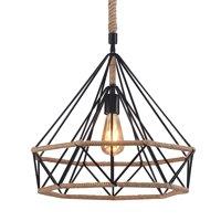 "Wideskall 18"" Industrial Hemp Rope Iron Wire Diamond Cage Hemp Rope HangingPendant Ceiling Light 1-Bulb Lighting Fixture, UL Certificated"