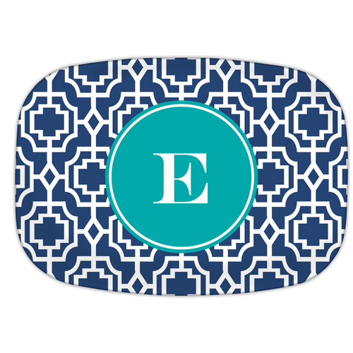 Whitney English Designer Lattice Single Initial Melamine Plate