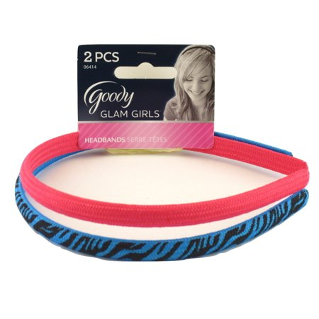 Goody Glam Girls Zebra Print Shoestring Fabric Head Bands - Pink & Blue - 2 Pcs.