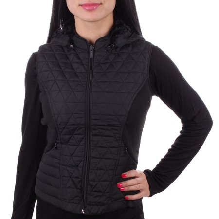 Women's Fashion Hooded Faux Fur Lined Quilted Polyester Zip Front Vest Black Small