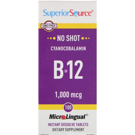 Superior Source  Cyanocobalamin B-12  1 000 mcg  100 MicroLingual Instant Dissolve Tablets ()