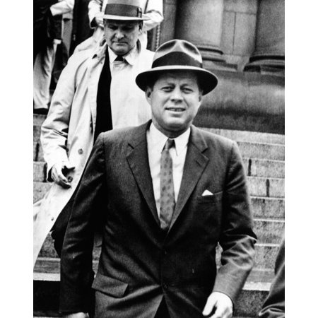 President Kennedy Wearing A Fedora He Was Leaving St Mathews Cathedral In Rainy Weather May 11
