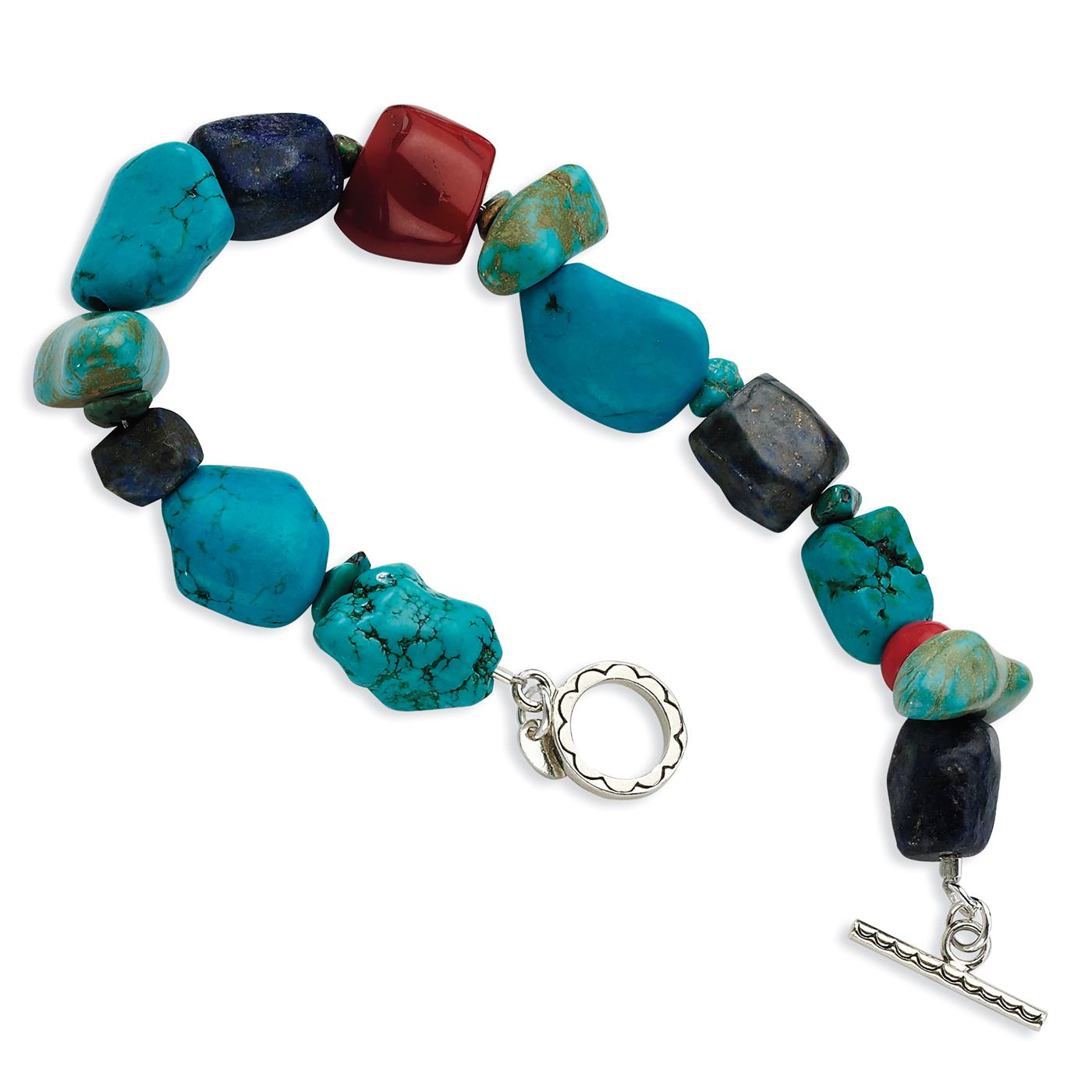 """Ladies 925 Sterling Silver Red Coral Howlite Lapis & Turquoise Bracelet 8"""" by Fusion Collections"""