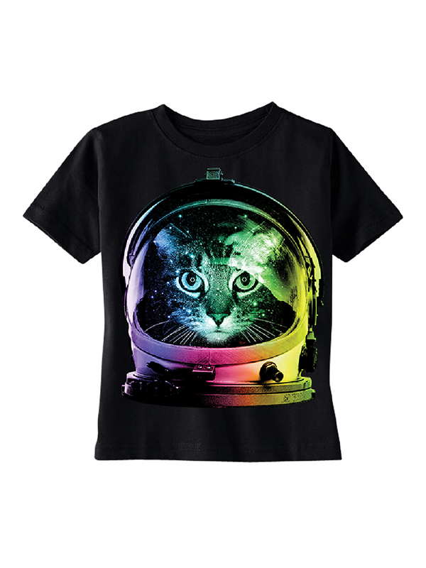 Space Cat Astronaut Toddler T-shirt Black 4T