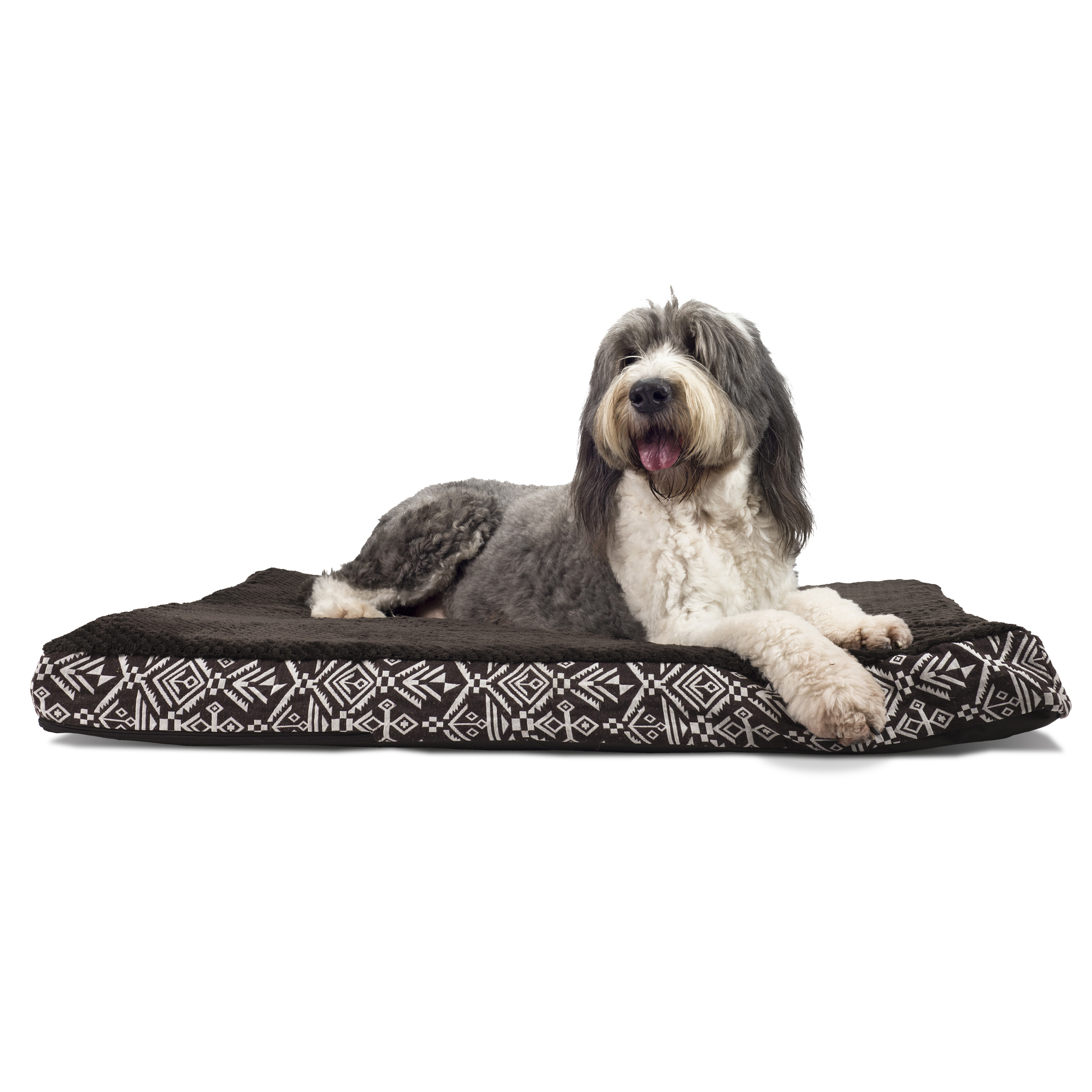 FurHaven Pet Dog Bed | Deluxe Memory Foam Plush Kilim Mattress Pet Bed for Dogs & Cats, Southwest Espresso, Extra Large