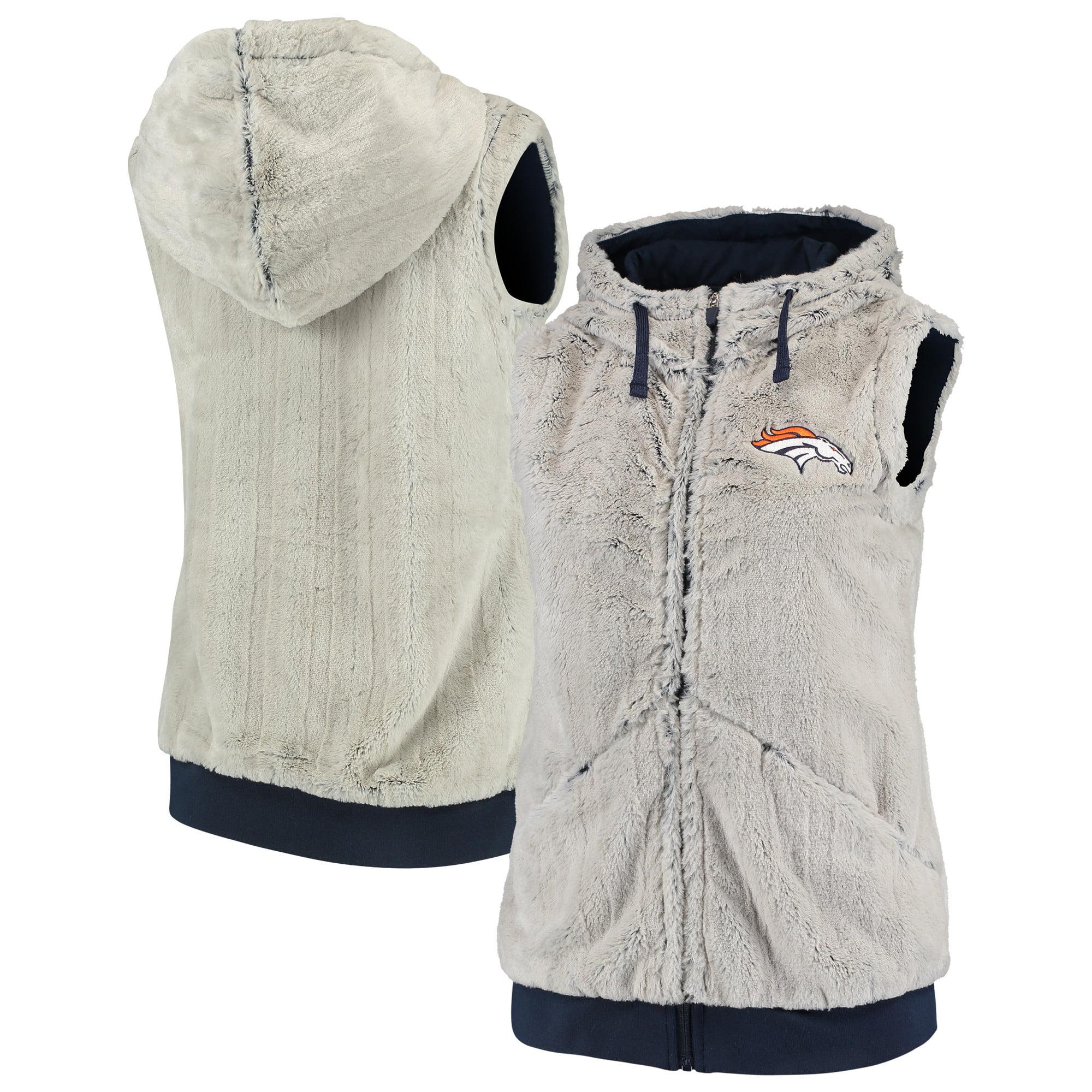 Denver Broncos Antigua Women's Rant Hooded Full-Zip Vest - Silver/Navy