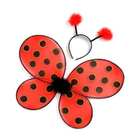 Great Pretenders Ladybug Wings with Headband, Red/Black (One Size) - Creative Halloween Customs