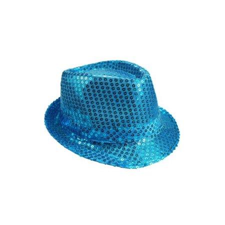 Mozlly Mozlly Glamorous Light Blue Sequin Fedora Hat Flashing Disco Retro  Funky Glitter Sparkly Universal Luxurious 15293b602bab