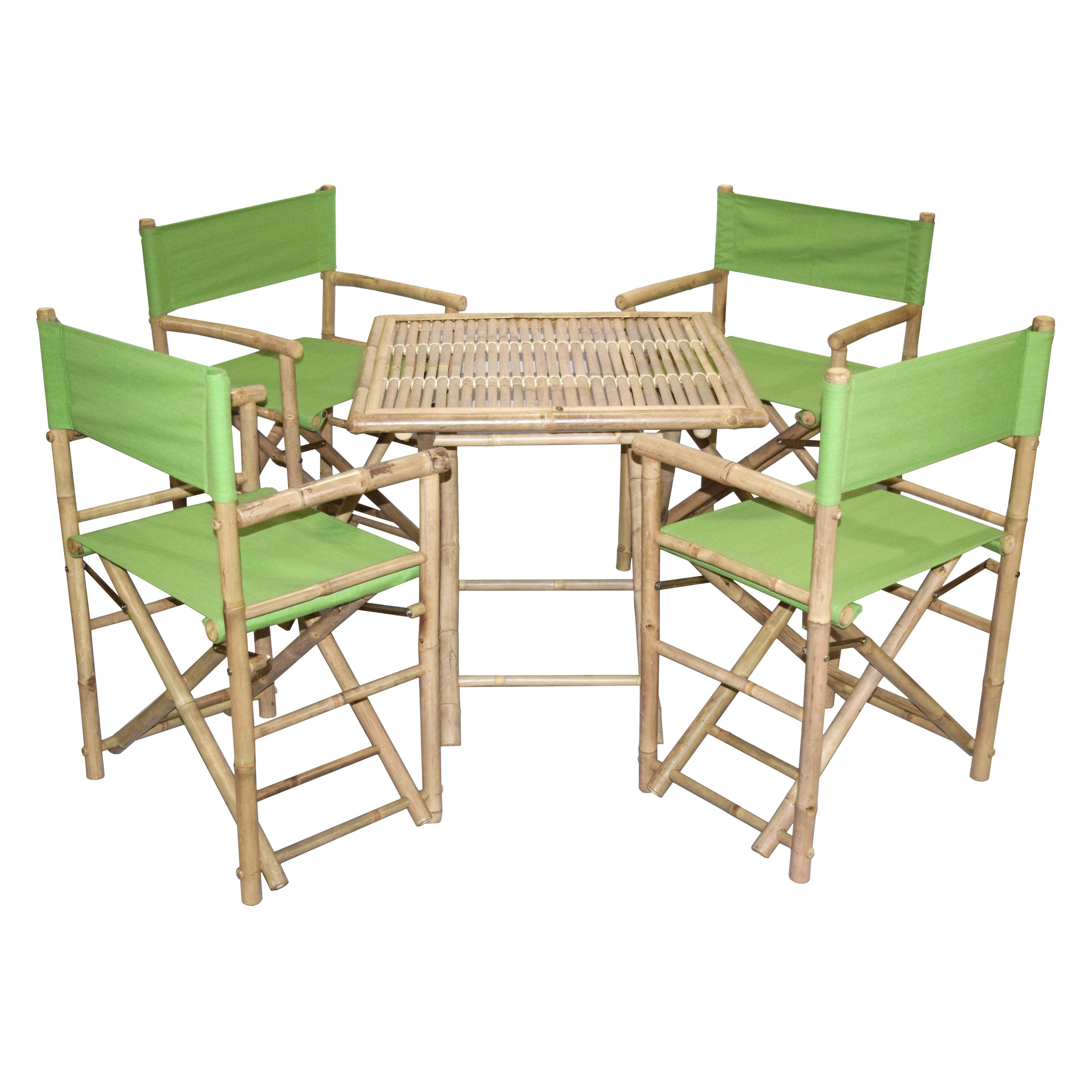 5-Pc Eco-friendly Outdoor Director's Square Chat Set in Green