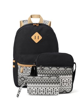 Canvas Backpack Set 3 Pcs, Casual School Backpack for Women Teen Girls