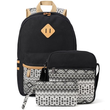 Canvas Backpack Set 3 Pcs, Casual School Backpack for Women Teen Girls Canvas Womens Backpack