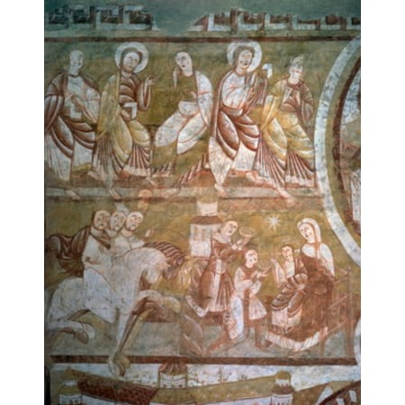 The Offering of the Magi Surmounted by a Row of Angels by artist unknown 12th century Canvas Art - (18 x 24)