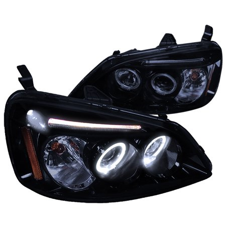 Spec-D Tuning 2001-2003 Honda Civic Led Halo Projector Headlights 2001 2002 2003 (Left + Right) (Halo Headlights Honda Civic 2000)