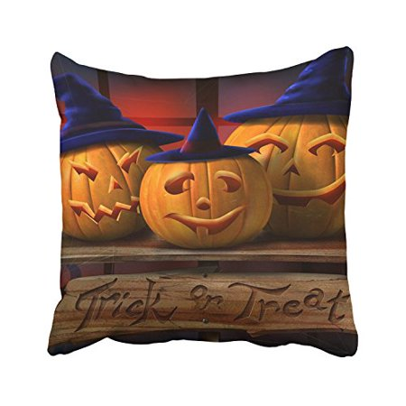 WinHome Halloween Trick Or Treat Shaman Hats Funny Pumpkin Lights Decorative Pillowcases With Hidden Zipper Decor Cushion Covers Two Sides 18x18 inches (Funny Pumpkin Ideas For Halloween)