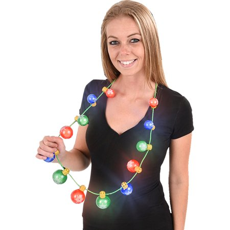Light Up Christmas Ornament Necklace Costume Accessory