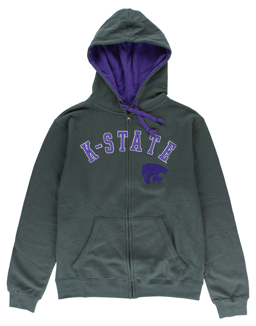 Cover One Mens Kansas State Wildcats Full Zip Hoodie Grey by