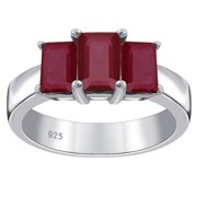 Orchid Jewelry 925 Sterling Silver 2.65 Ctw Octagon Shaped February Birthstone Red Ruby Ring, Prong Set 3-Stone Ring, For Women, Simple, Beautiful, Affordable