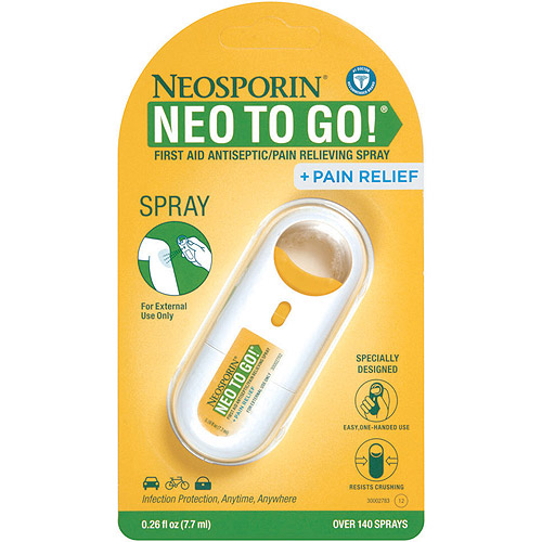 Neosporin + Pain Relief Neo To Go! First Aid Antiseptic Pain Relieving Spray, .26 oz.