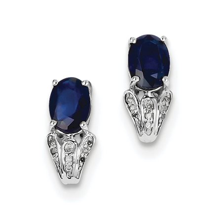 925 Sterling Silver Rhodium Plated Diamond & Sapphire Oval Post (6x13mm) Earrings ()