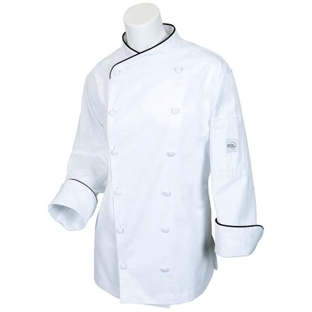 Mercer Flare (Mercer Renaissance Cutlery Women's Chef Coat (Scoop Neck) - White w/ Black Piping, XS )