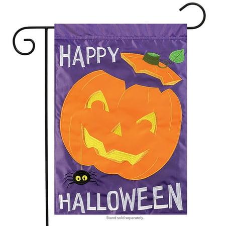 Happy Pumpkin Halloween Applique Garden Flag Embroidered Spider  2 Sided 13