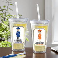 Personalized Graduation Character Tumbler - Black