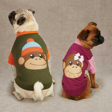 - East Side Collection Monkey Business Raglan Dog Tee Shirt TY GREEN XX-SMALL