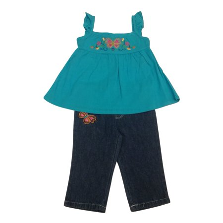 Baby Togs Baby Girls Turquoise Butterfly Floral 2 Pc Denim Pants Set 12 24M