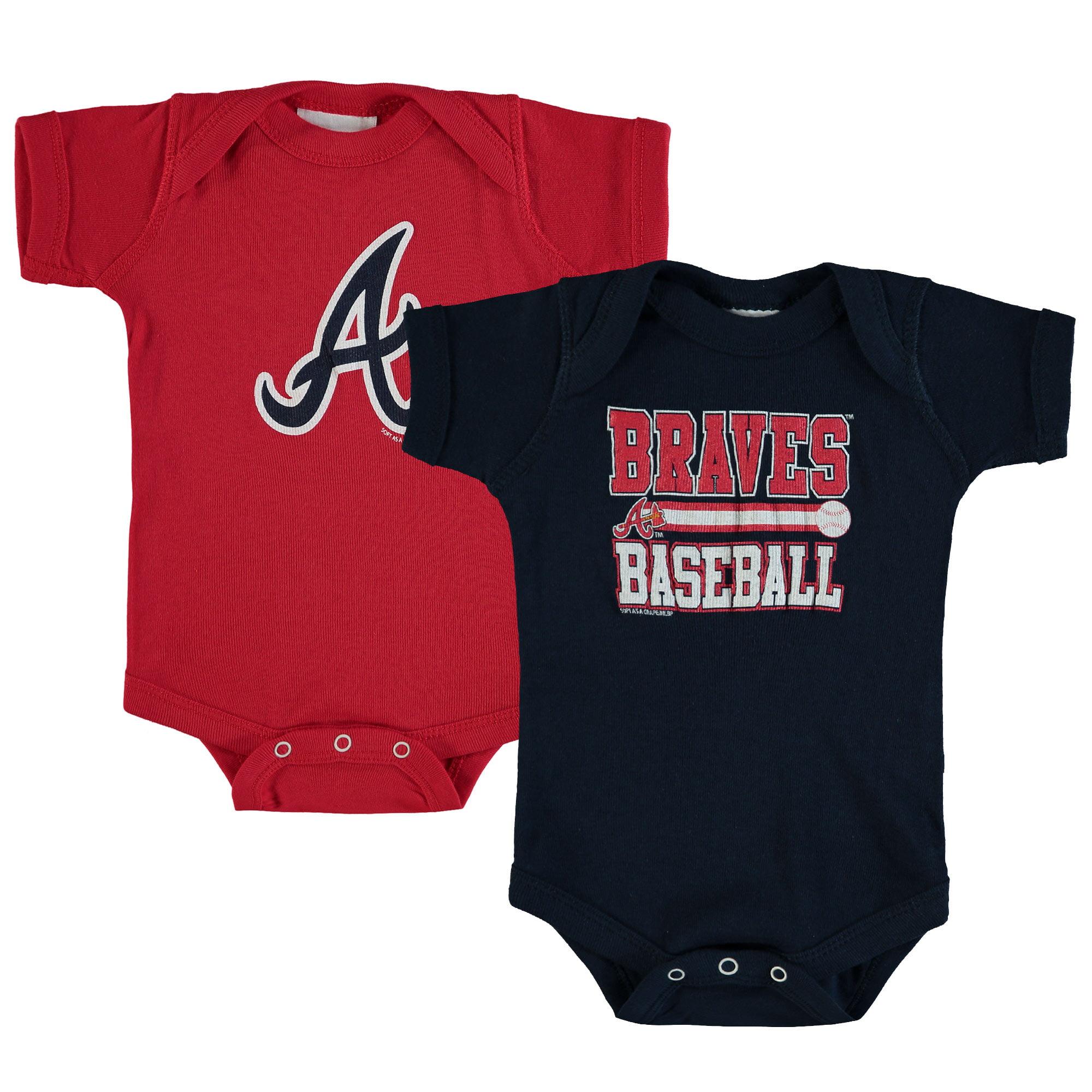 Atlanta Braves Soft as a Grape Newborn & Infant 2-Piece Body Suit - Navy/Red