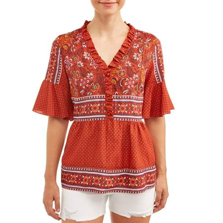- Women's Mixed Print Short Sleeve Peasant Top