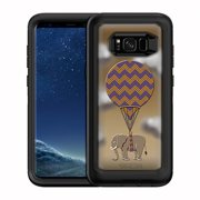 SKIN DECAL FOR OtterBox Defender Samsung Galaxy S8 Plus Case - Elephants Traveling Hot Balloon DECAL, NOT A CASE