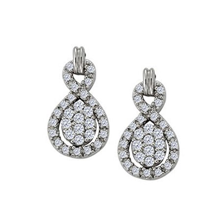 April Birthstone Diamond Stylish Earrings in 14K White Gold 0.50 CT TDW - image 1 of 2