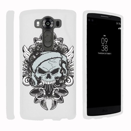 Lg V10   G4 Pro   Snap Shell  White  2 Piece Snap On Rubberized Hard White Plastic Cell Phone Case With Exclusive Art    Demon Skull