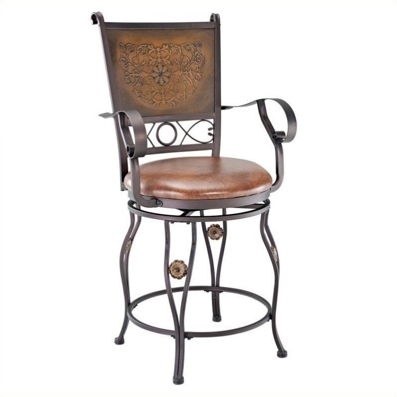 Powell Big & Tall Copper Stamped Back Bar Stool with Arms, Bronze