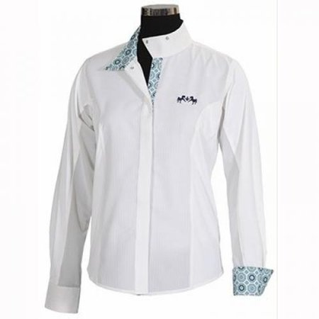 Equine Couture Girl's Kelsey Long Sleeve Show Shirt, White/Pink, 16 (Equine Couture Kelsey)