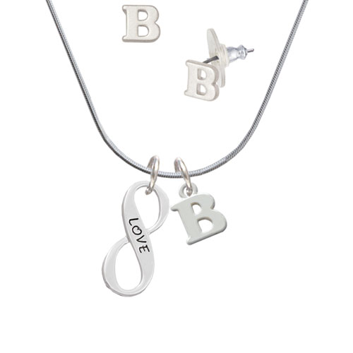 Love Infinity Sign - B Initial Charm Necklace and Stud Earrings Jewelry Set