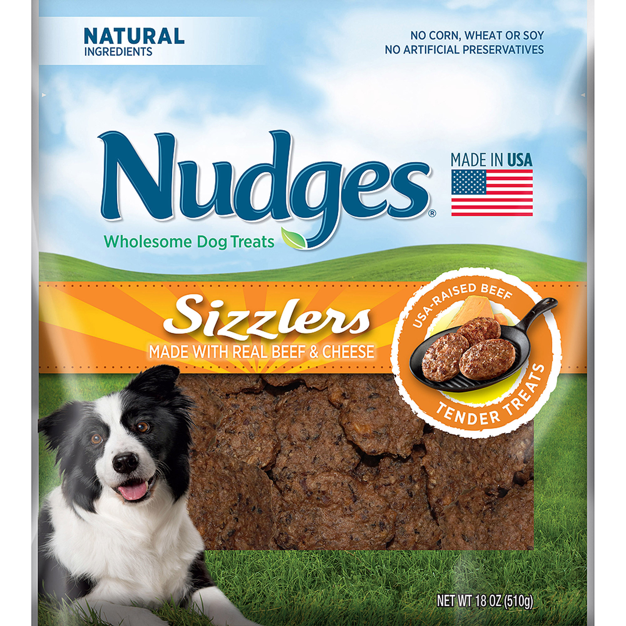Nudges Beef & Cheese Sizzlers Wholesome Dog Treats 18 oz. Bag