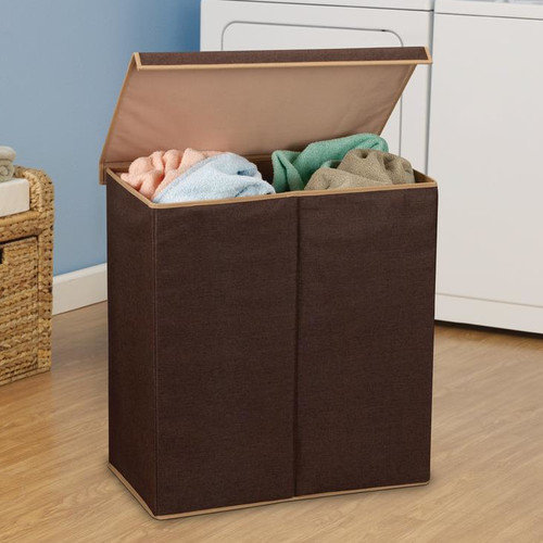 Household Essentials 5614 Sorter with lid, Dark Coffee Linen, 1100D Polyester with Moisture Resistant Lining, magnet