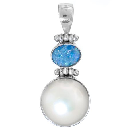 """White Mabe Cultured Pearl Australian Opal 925 Sterling Silver Pendant, 1 3/8"""""""