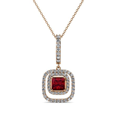 - Ruby and Diamond Halo Pendant 0.68 ct tw in 14K Rose Gold with 18 Inches 14K Gold Chain