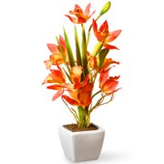 """National Tree Artificial 13"""" Yellow & Orange Orchid Flowers"""