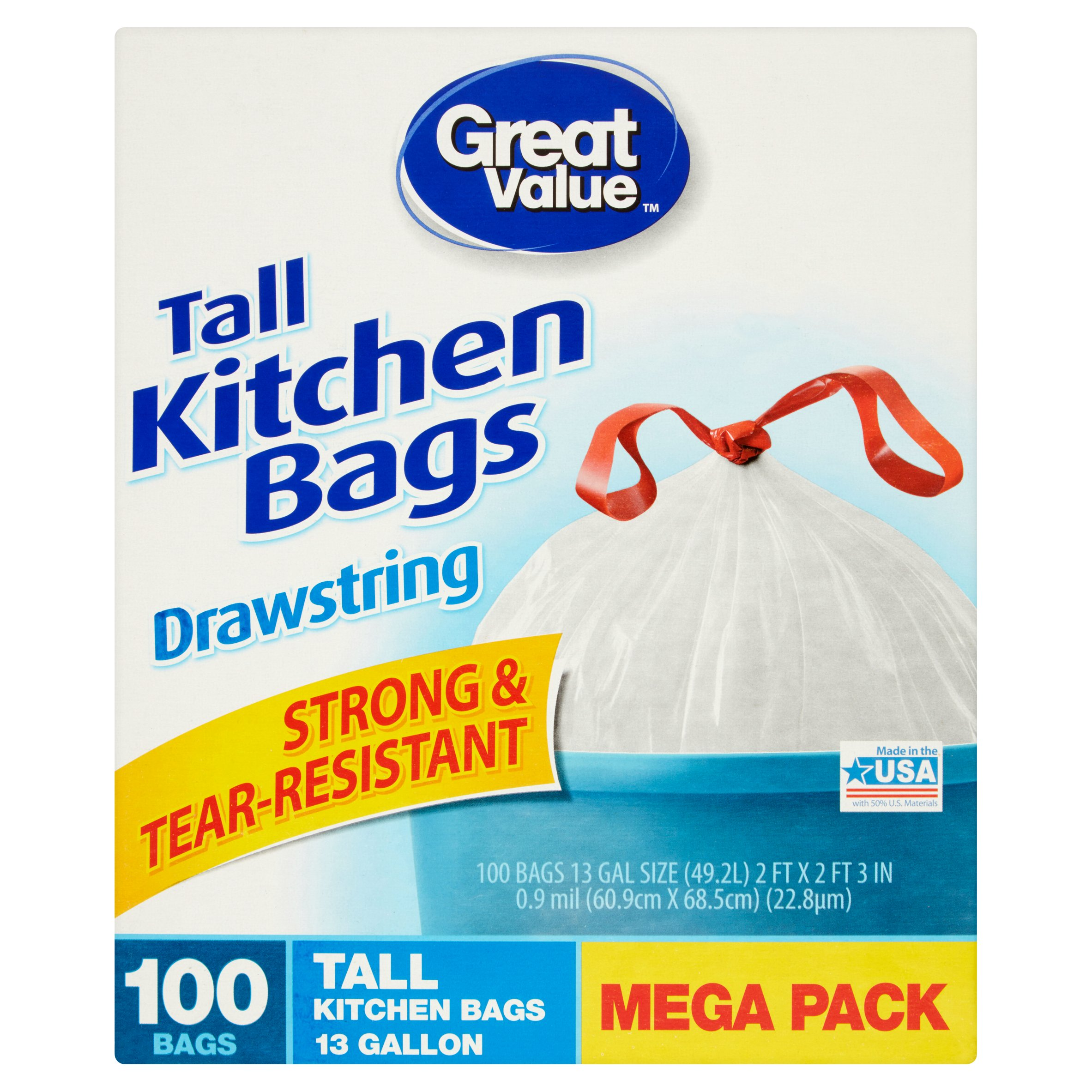 great value tall kitchen bags 13 gallon drawstring mega pack 100