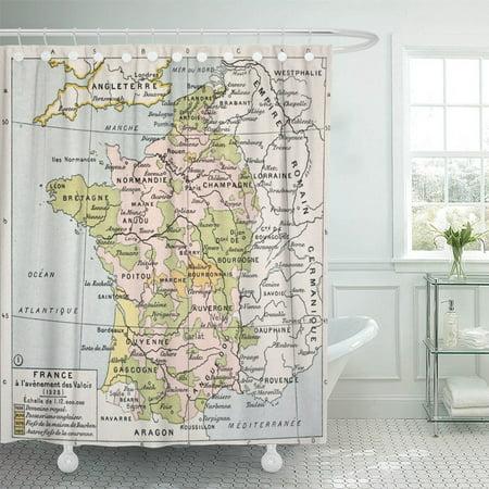 Classique Bath - KSADK Political Map of France in 1328 by Paul Vidal De Lablache Atlas Classique Librerie Shower Curtain 66x72 inch