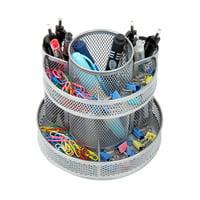 Pro Space Rotating Pencil Holder Steel Mesh Spinning Desk Organizer, Black