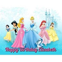 Disney Princess Sleeping Beauty Cinderella Ariel Jasmine Belle Aurora Snow White Edible Image Photo Cake Frosting Icing Topper Sheet Personalized Custom Customized Birthday Party - 1/4 Sheet