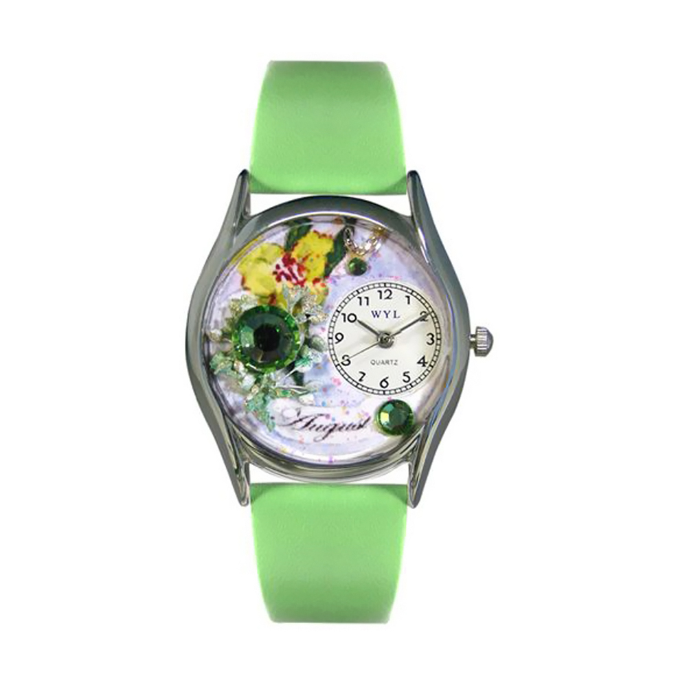 Whimsical Birthstone: August Green Leather And Silvertone Watch