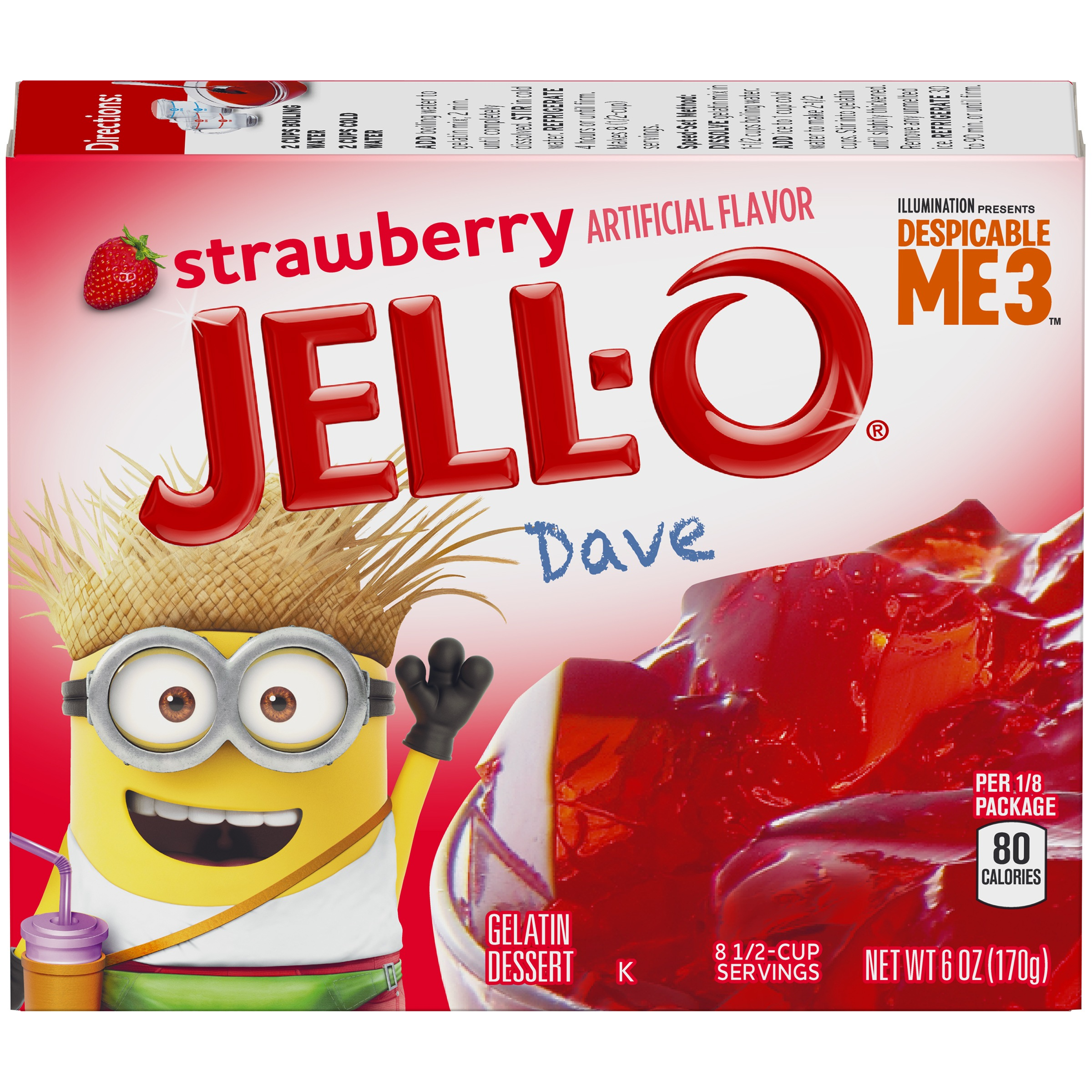 Jell-O Strawberry Gelatin Dessert Mix 6 oz. Box