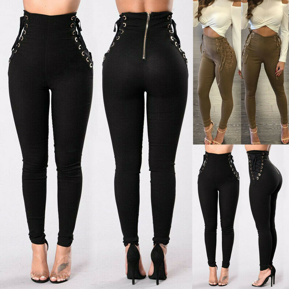 Women High Waist Skinny Jeans Stretch Pencil Pants Jeggings Casual Slim Trousers