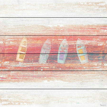 """""""Four Small Boats"""" Painting Print on White Wood"""